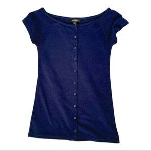 Le Chateau navy ribbed button fitted boat neck top